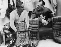 Johnny Bower (right) next to Terry Sawchuk. They were the goal tending duo that lead the Toronto Maple Leafs to their last Stanley Cup win in I was fifteen! Hockey Goalie, Hockey Players, Hockey Boards, Red Wings Hockey, Goalie Mask, Nhl News, Toronto Star, Toronto Maple Leafs, Detroit Red Wings