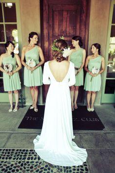 Santaluz Club wedding, bridesmaids, mint, vintage wedding, summer wedding, dahlia flower crown, wedding dress floral design: plentyofpetals.com photography: photographsbyanjuli.com