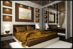 Decorating bedroom with Gold #bedroom #designs