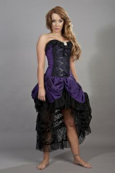 Elizabeth vintage corset dress in purple taffeta and black lace 7328b55d9231