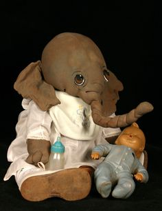 """SNORKY  20"""" elephant wearing antique vintage clothing by doll artist   Jan Shackelford  www.janshackelforddolls.com   to special order or be on a mailing list to reciever regular updates on new babies and animals email to:   janshackelford@dollsbyjanshackelford.com"""