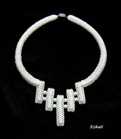 Beadwoven jewelry, Elegant bridal Right Angle Weave necklace, wedding jewelry, Unique OOAK jewelry. $140.00