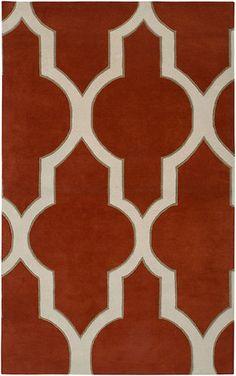 Area Rug 8x10 Wool Modern Moroccan Turkish Red/Rust White Geometric Carpet   eBay