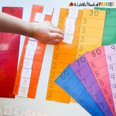 This activity helps kids learn to count to 100, introducesthem to place values, helps with number recognition and number relationships while allowing them to be actively involved as they learn instead of just staring at a chart with lots of numbers which can be overwhelming. I realized we aren't ready for a 100 chart yet …