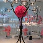 Tree Centerpiece with Pink Fluffy Ball and Votive Candles