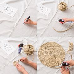 Make This Rope Rug With Only Three Materials This easy DIY will rope you in to. - Most creative decoration list Jute Crafts, Diy Home Crafts, Diy Simple, Easy Diy, Burlap Rug, Rope Rug, Canvas Drop Cloths, Rug Texture, Diy Carpet