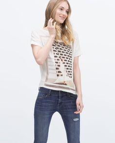 ZARA - NEW THIS WEEK - LOW BACK PRINTED T-SHIRT