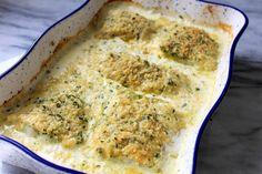 Dubliner Irish Cheese Crusted Fish #Irish #cheese #crusted #fish #dubliner #justapinchrecipes Dubliner Cheese, Cheddar Cheese, Panko Crumbs, Just A Pinch, Scallops, Casserole Dishes, Irish, Dinner, Cooking