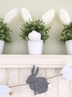 DIY bunny tail pots / Find out how to create the cutest little cottontail bunny decorations for your spring mantle decor. An original design by Giggle Living www.GiggleLiving.com #diyeaster #diycrafts #springcrafts