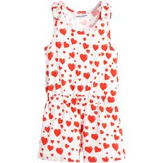 Girls Organic Cotton Red 'Hearts' Playsuit, Mini Rodini, Girl