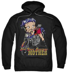 Biker Betty Boop Not Your Average Mother Adult Pull-Over Hoodie Go to: http://amzn.to/1BWnxTy 80% Cotton 20% Polyester Officially Licensed Printed here in the USA Go to: http://amzn.to/1BWnxTy