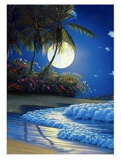 Naiflowers Full Drill Diamond Painting Kits for Girls' Bedroom, DIY Rhinestone Crystal Embroidery Paintings Cross Stitch Wall Art for Living Room Home Decor Adults (Moon Night) Beautiful Nature Pictures, Beautiful Nature Wallpaper, Beautiful Moon, Beautiful Landscapes, Beautiful Places, Beautiful Paintings Of Nature, Nature Paintings, Beautiful Gardens, Image Nature