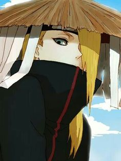 Deidara (デイダラ, Deidara) was an S-rank missing-nin from Iwagakure. During his time in the village, he was a member of the Explosion Corps. After defecting from the village, he was forced into the Akatsuki and was one of its youngest members. There he was partnered with Sasori until the latter's death, and later with Tobi before his own death.