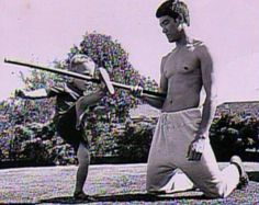 Bruce Lee with his son