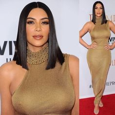 Kim Kardashian Hot, Kim K Style, High Neck Dress, Glamour, Instagram, People, Dresses, Fashion, Hair