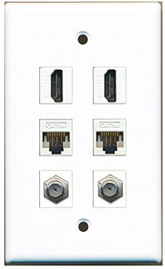RiteAV - 2 HDMI 2 Port Coax Cable TV- F-Type 2 Port Cat5e Ethernet White Wall Plate
