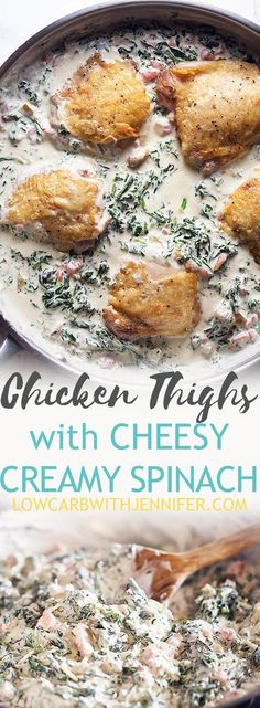 An easy dinner using flavorful keto chicken thighs on a bed of creamy cheesy spinach. A delicious one pan low carb 30 minute meal! #ketogenicdiet #lowcarbrecipes #chickenrecipes #easydinners