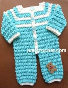 Free baby crochet pattern for bobbly rompers http://www.justcrochet.com/rompers-usa.html #justcrochet