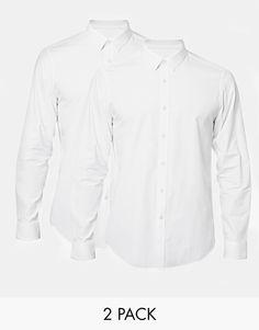 Chemise élégante par ASOS Article fabriqué en coton mélangé Patte de boutonnage classique Coupe standard Lot de deux chemises
