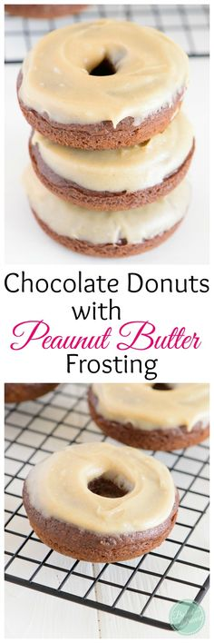 Chocolate donuts that are baked and smeared with a creamy peanut butter frosting. So simple and delicious!