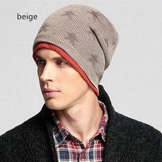 Casual star beanie hat for men casual sports knit hats winter wear