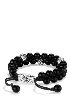 Free shipping and returns on David Yurman 'Spiritual Beads' Two-Row Bracelet with Onyx at Nordstrom.com. Sterling silver. Black onyx and knot beads, 8mm diameter. Black nylon cord. Adjustable length. By David Yurman; imported.