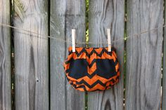 Orange and black Chevron diaper cover with black pockets by VeryMaggie on Etsy