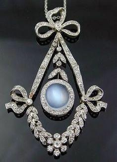 Platinum Diamond and Moonstone Pendant Necklace. Moonstone Jewelry, Moonstone Pendant, Diamond Pendant Necklace, Gemstone Jewelry, Stone Necklace, Diamond Jewelry, Edwardian Jewelry, Edwardian Style, Antique Jewelry