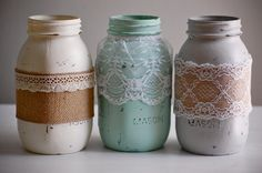 Set of 3 painted & distressed mason jars with lace and burlap, farmhouse decor, rustic wedding decor, shabby chic wedding, shabby chic decor vintage jar Distressed Mason Jars, Vintage Mason Jars, Painted Mason Jars, Shabby Chic Wedding Decor, Rustic Wedding, Wedding Ideas, Rustic Farmhouse Decor, Rustic Decor, Farmhouse Style