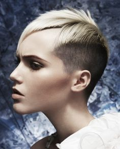 short blonde straight coloured multi-tonal spikey shaved-sides haircut womens hairstyles for women