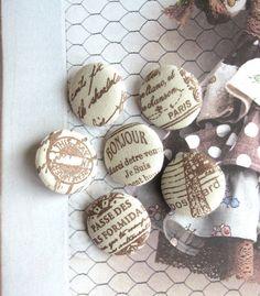 Handmade Fabric Buttons  Beige Brown French Paris by RetroNaNa, $6.50 Little Girl Fashion, Quail, Script, Little Girls, California, Buttons, French, Paris, Brown