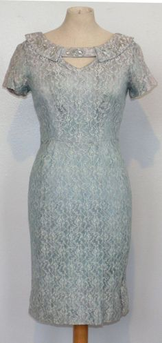 Stunning 1950's Vintage Lace Evening Dress by MillerAndCampbell, $52.00