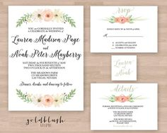 Printable Wedding Suite wedding invitation by goldblushstudio