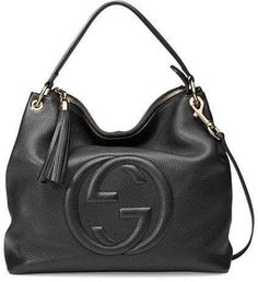 Hobo bags are hot this season! The Gucci Soho Crossbody Large In Black Leather Hobo Bag is a top 10 member favorite on Tradesy. Burberry Handbags, Chanel Handbags, Luxury Handbags, Gucci Purses, Chanel Bags, Chain Shoulder Bag, Leather Shoulder Bag, Gucci Shoulder Bag, Gucci Soho Bag