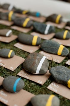 Rock Place Cards - The First Year Blog #wedding #rustic #placecards