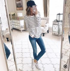 """692 Likes, 20 Comments - Kate Blue (@kateireneblue) on Instagram: """"Casual stripes + sneaks make the perfect Friday look  this $49 pullover is so good, lightweight…"""""""