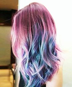 Galaxy hair color is the hair trend of the moment -- Last summer we had pastel hair, but the latest rainbow hair color trends for winter are giving us darker, richer tones. Cabello Underlights, Underlights Hair, Galaxy Hair Color, Rasta Hair, Pelo Multicolor, Mermaid Hair, Dream Hair, Rainbow Hair, Cool Hair Color