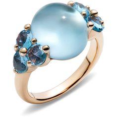 Pomellato Ring Luna ($4,530) ❤ liked on Polyvore featuring jewelry, rings, blue, pomellato jewelry, blue ring, pomellato rings, blue jewelry and pomellato