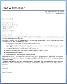 administrative assistant cover letter temp - Administrative Associate Cover Letter