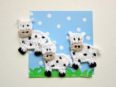 "1pc 3"" Crochet COW Applique"