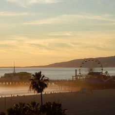 Evening mist heralds in a colorful sunset over Santa Monica Pier.