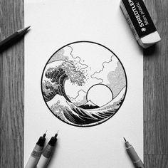 Amazing Katsushika Hokusai& Great Wave off Kanagawa by Kunst Tattoos, Tattoo Drawings, Art Drawings, Tattoo Sketches, Tattoo Art, Sea Tattoo, Tattoo Pics, Art And Illustration, Black And White Illustration