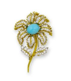A turquoise and diamond brooch, by David Webb.