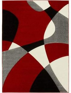 Geometric wave design area rug in red. x 7 ft. 2 in. Material frieze heat-set, twisted luster gloss, hand carved effect. Capture the feel of modern design with this bold and abstract area rug, perf