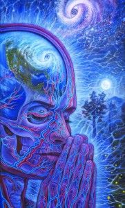 """The person who is in tune with the Universe becomes like a radio receiver, through which the voice of the Universe is transmitted."" ~ Hazrat Inayat Khan  art pic: Alex Grey  www.mynzah.com"