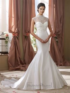High Beaded Illusion Neckline Mermaid Wedding Dress