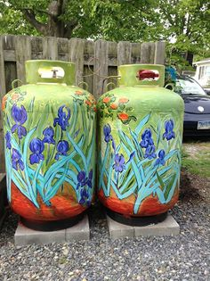 Van Gogh inspired tanks by Renee Brennan. Could I do this to the trash cans? Propane Tank Art, Painted Trash Cans, Outdoor Trash Cans, Milk Cans, Garden Projects, Metal Projects, Backyard Projects, Art Projects, Bottle Painting