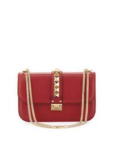 Valentino Lock Rockstud-Trim Flap Bag, Red
