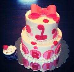 Polka cake with fondant bow & dots.
