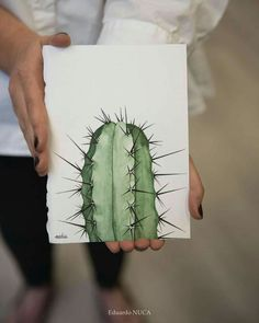 Cute cactus-easy to drawEither you are bragging or you just have a good memory of me telling you to enjoy your cactus.Printable art Cacti art print Watercolor cactus by SouthPacific - SalvabraniTo any cactus lovers out there.Pinned by: ☾OohmyJupite Cactus Drawing, Cactus Painting, Watercolor Cactus, Cactus Art, Painting & Drawing, Watercolor Paintings, Simple Watercolor, Watercolor Animals, Watercolor Techniques